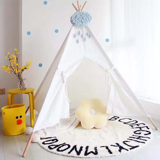 Alphabet Round Off White  Cotton Baby Play Mat 120 x 120 cm in teepee tent