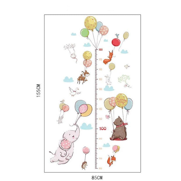 Animals Height Measurement Wall Sticker size