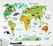 Animals World Map Baby Nursery & Kid's Room Wall Sticker Front