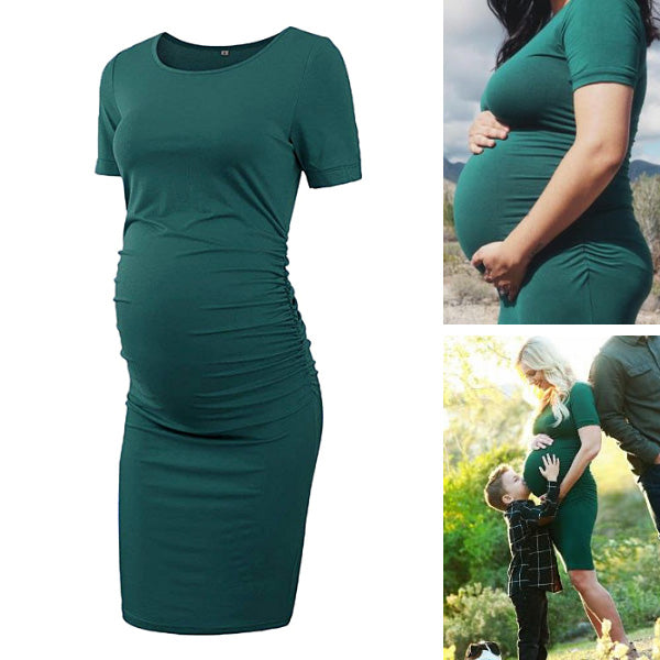 Ariah Green Short Sleeves Maternity Dress