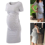 Ariah - Navy Short Sleeves Maternity Dress