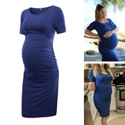Ariah Navy Short Sleeves Maternity Dress
