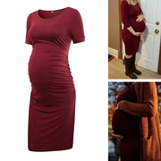 Ariah Wine Red Short Sleeves Maternity Dress