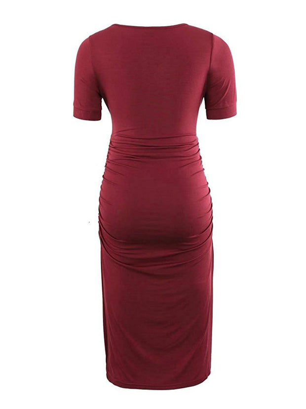Ariah - Red Short Sleeves Maternity Dress