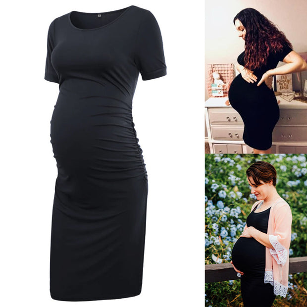 Ariah Black Short Sleeves Maternity Dress