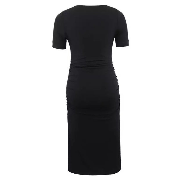Ariah Black Short Sleeves Maternity Dress back