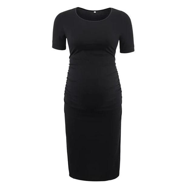 Ariah Black Short Sleeves Maternity Dress front 2