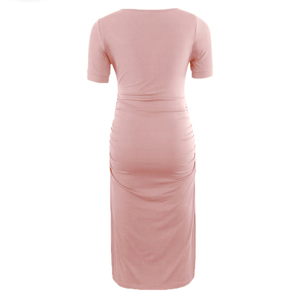 Ariah Pink Short Sleeves Maternity Dress back