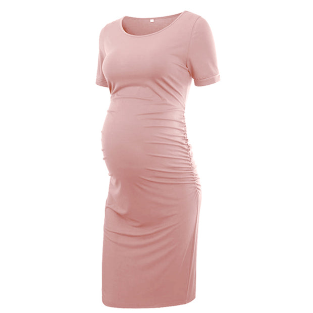 Ariah Pink Short Sleeves Maternity Dress front 2
