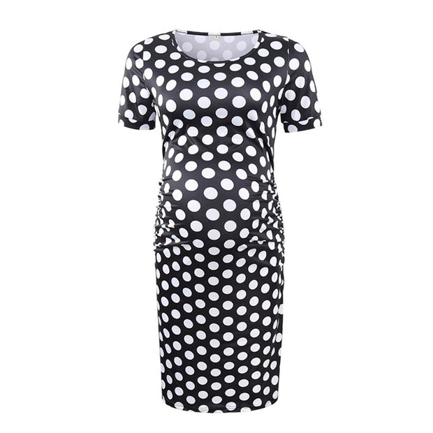 Ariah Polka Dot Maternity Dress Front
