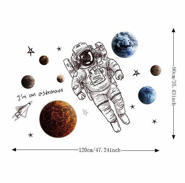 Astronaut Nursery Wall Sticker Size