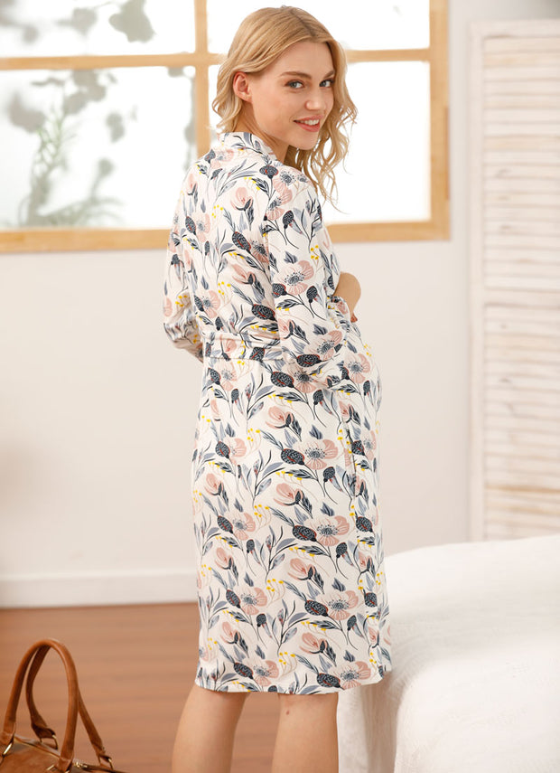 Audrey Maternity Robe Set with swaddle, beanie & headband back