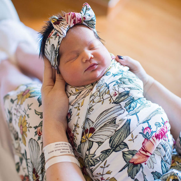 Audrey Maternity Robe Set with swaddle wrap, beanie & headband with baby