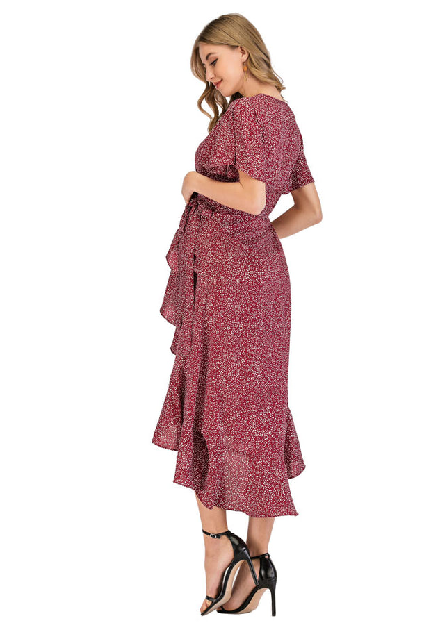 Ava Rose Maternity Wrap Dress backside