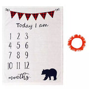 Bear Baby Milestone Blanket with prop