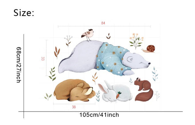 Bear & Friends Baby Nursery Wall Sticker Size