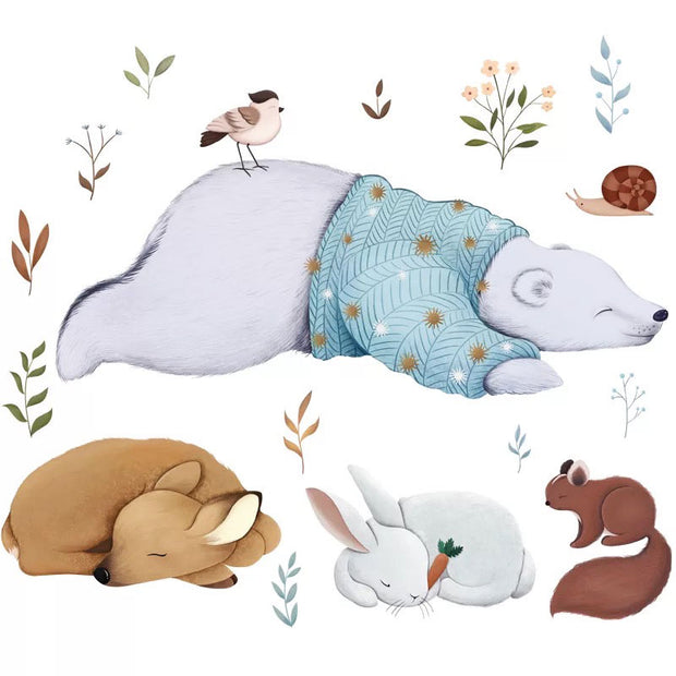Bear & Friends Baby Nursery Wall Sticker on white background