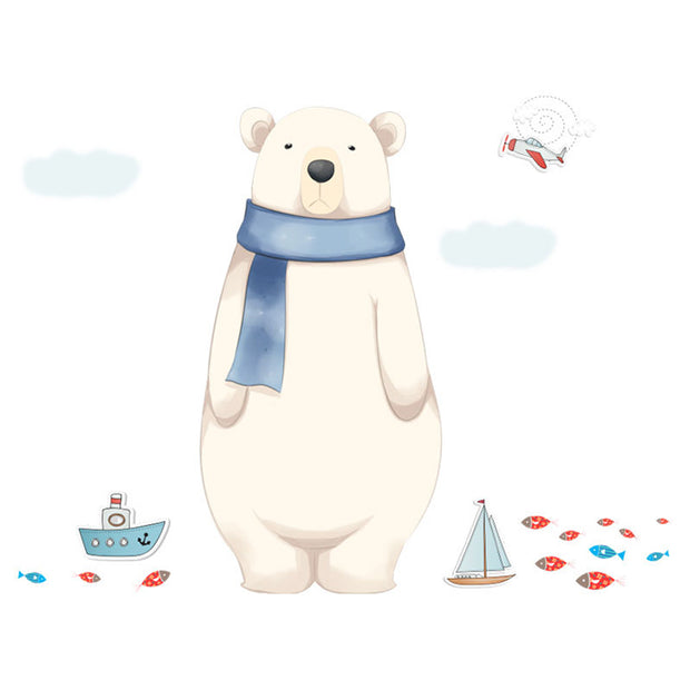 Big Polar Bear Baby Nursery Wall Sticker in plain background