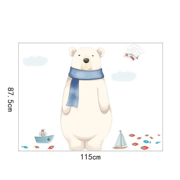 Big Polar Bear Baby Nursery Wall Sticker size