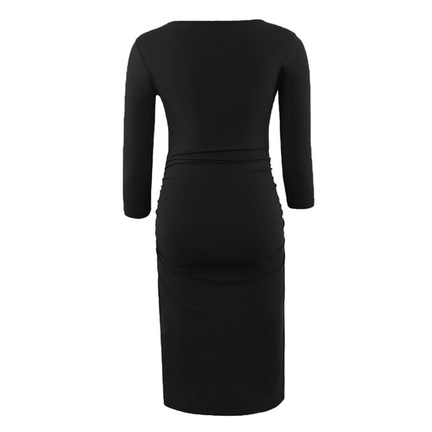 Kaya - Black Full Sleeves Maternity Dress