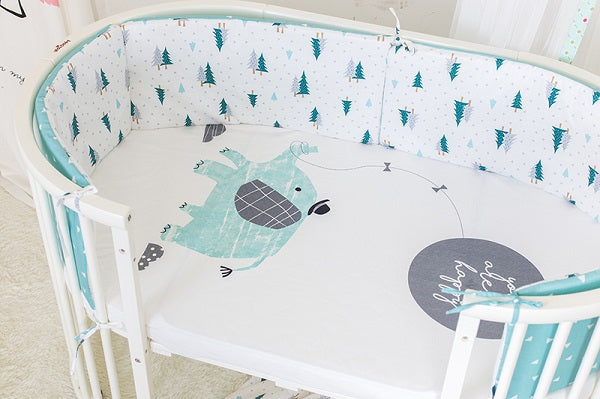 Blue Elephant Cot Sheet