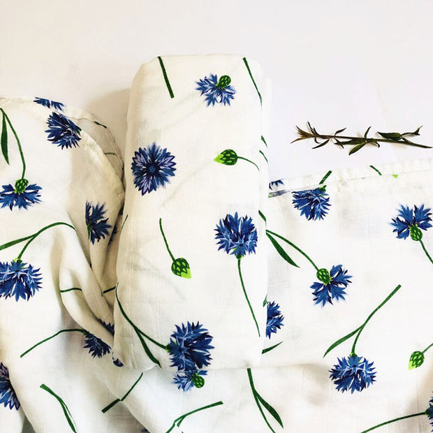 Blue Flowers Baby Swaddle Wrap