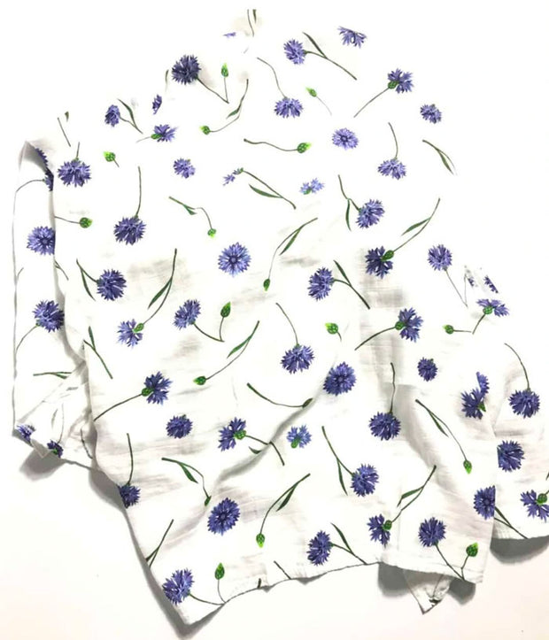 Blue Flowers Baby Swaddle Wrap full