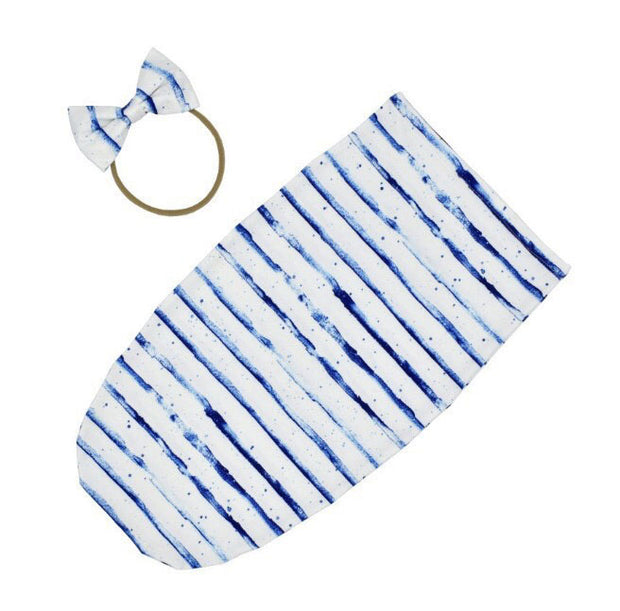 Blue Stripes Baby Swaddle Sack full