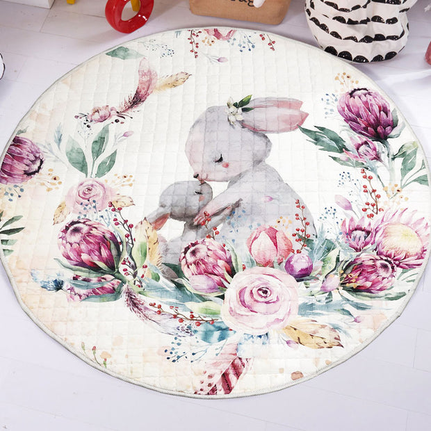 Bunny & Baby Round Play Mat 150-150 cm front