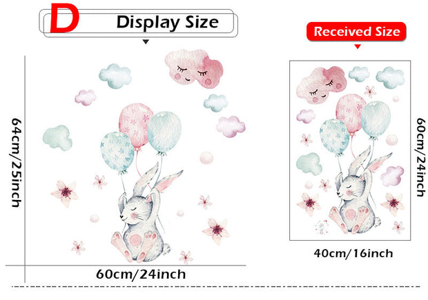 Bunny & Balloons Wall Sticker size