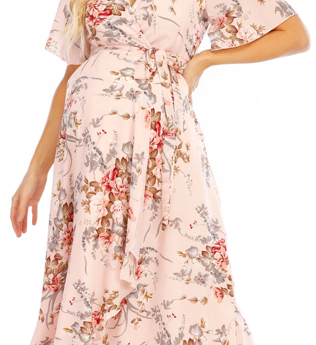 Chloe Maternity Wrap Dress Pink