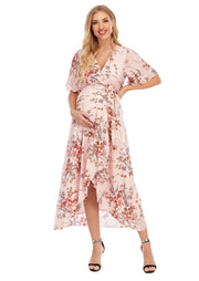 Chloe Maternity Wrap Dress Pink front 1