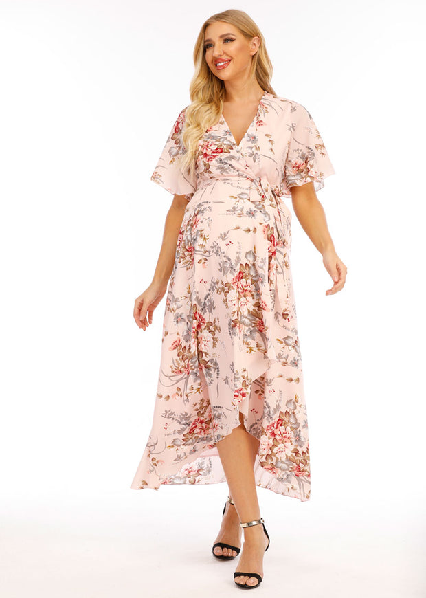 Chloe Maternity Wrap Dress Pink front