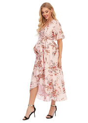 Chloe Maternity Wrap Dress Pink side