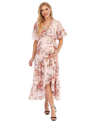 Chloe Maternity & Pregnancy Wrap Dress Pink