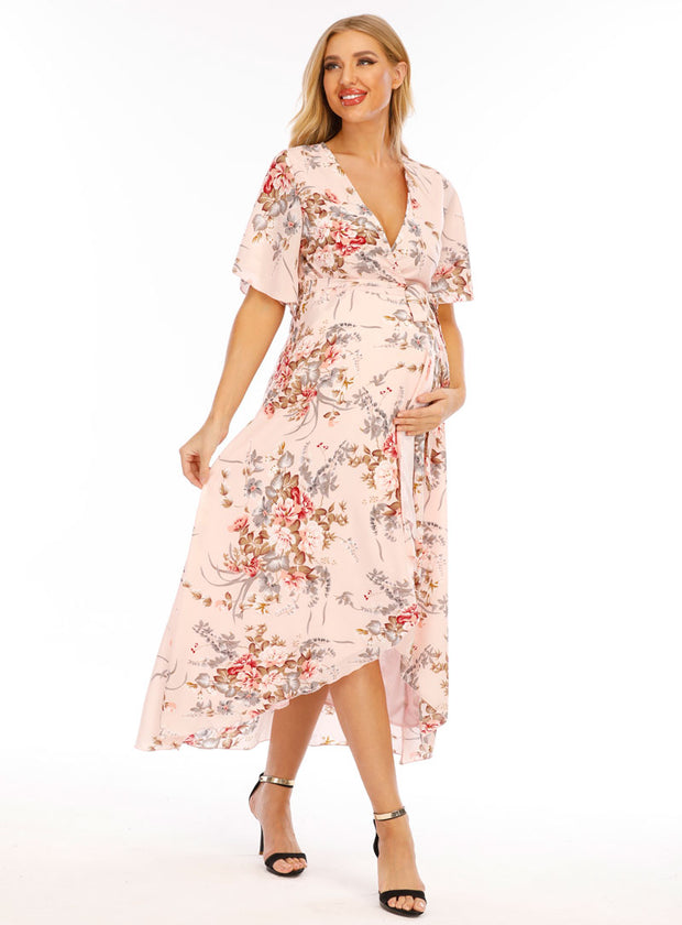 Chloe Maternity & Pregnancy Wrap Dress in Pink