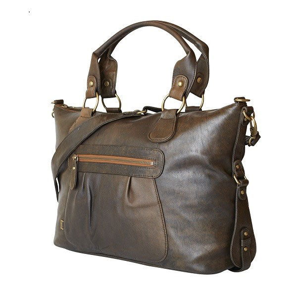 Chocolate Leather Slouch Tote - OIOI