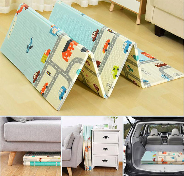 City Roads Reversible Baby Play Mat Folded