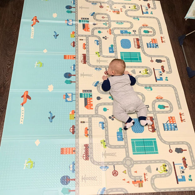 City Roads Reversible Baby Play Mat With Baby