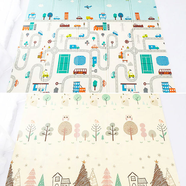 City Roads Reversible Baby Play Mat both designs