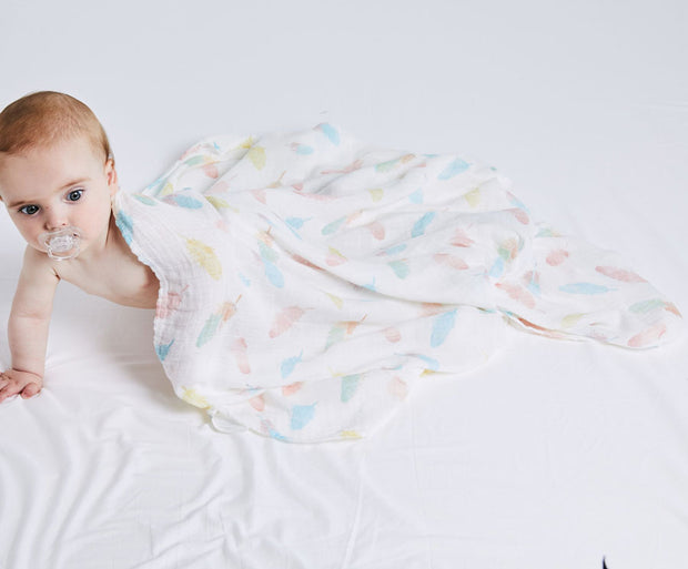 Colorful Feathers Baby Swaddle Wrap