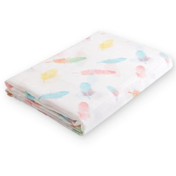 Colorful Feathers Baby Swaddle Wrap fold