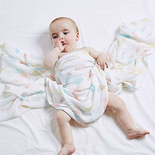 Colorful Feathers Baby Swaddle Wrap main