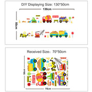 Construction Vehicles Kids Wall Sticker Size
