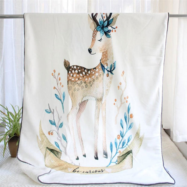 Cute Deer Mink Baby Blanket