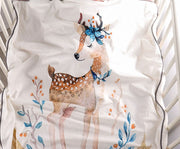 Cute Deer Mink Baby Blanket in Cot