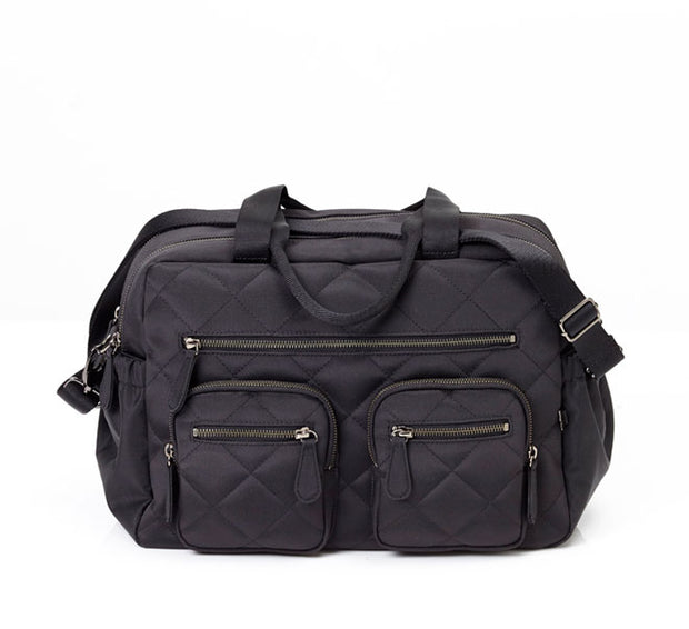 OIOI Diamond Quilted Black Carry All Nappy Bag