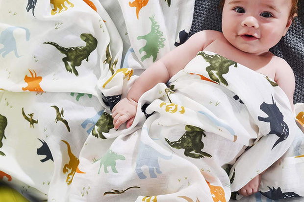 Dino Swaddle Wraps with baby