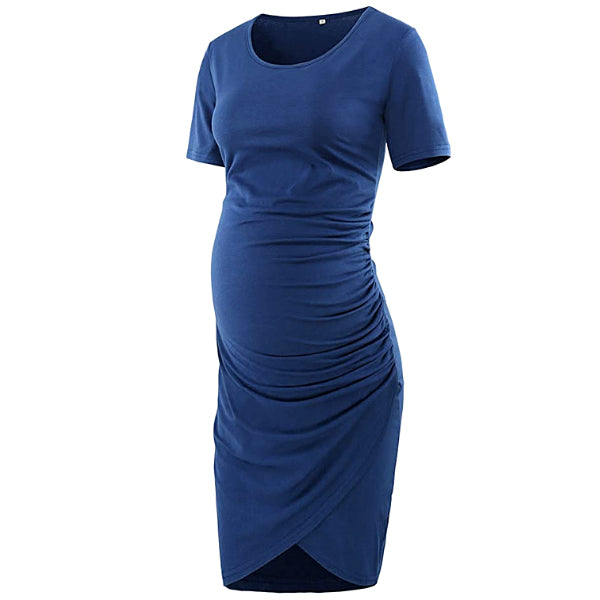 Elegant Navy Short Sleeves Shirred Maternity Dress