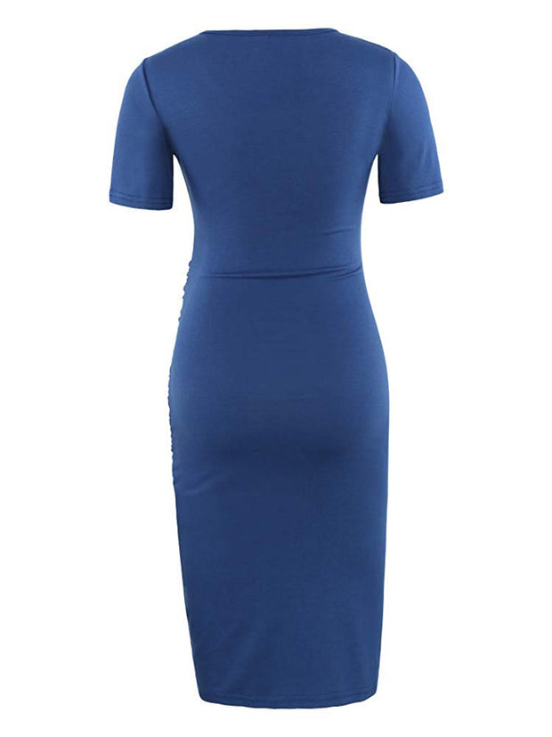 Elegant Navy - Short Sleeves Shirred Maternity Dress